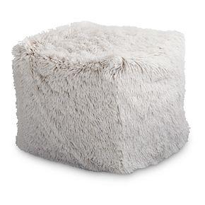 M. Kennedy Home Faux Fur Polar Cube Pouf Ottoman