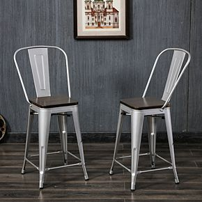 Ash 24 In. Wood Seat Stool 2-Piece