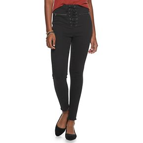 Juniors' Love, Fire Lace Up Skinny Jeans