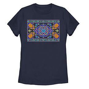Juniors Women's Aladdin Magic Carpet Pattern Tee Shirt