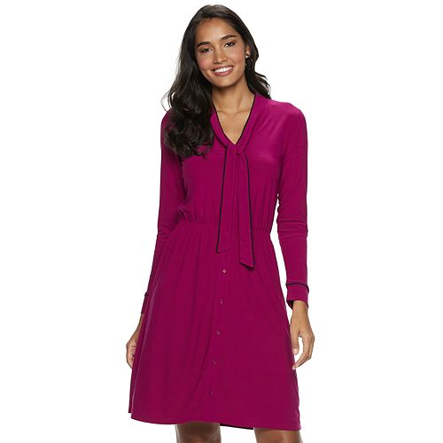 Women's Apt. 9® Long Sleeve Tie Neck Shirtdress