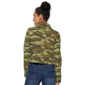 Juniors' Mudd® Cut Off Twill Crop Jacket