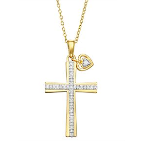 Gold Over Sterling Silver Diamond Accent Cross Pendant Necklace