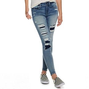 Juniors' Mudd Low-Rise Destructed Ankle Jeggings