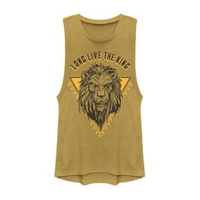 """Juniors' Disney's The Lion King Scar Sketched """"Long Live The King"""" Muscle Tank"""