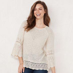 Petite LC Lauren Conrad Pointelle Bell Sleeve Sweater