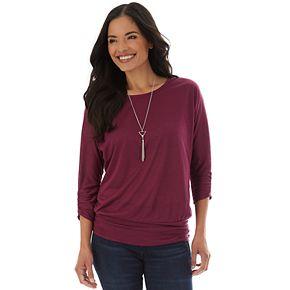 Women's Apt. 9® Spacedye Jersey Dolman 3/4 Ruched Sleeve Top