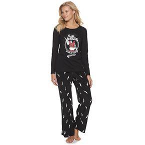 Women's Jammies For Your Families Santa's World Tour Top & Bottoms Pajama Set