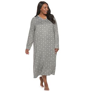 Plus Size Croft & Barrow® Lace-Trim Knit Sleepshirt
