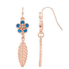 LC Lauren Conrad Flower & Leaf Nickel Free Drop Earrings