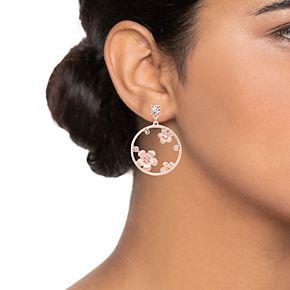 LC Lauren Conrad Flower Nickel Free Hoop Drop Earrings