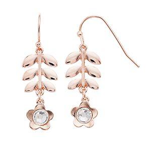 LC Lauren Conrad Leaf & Flower Nickel Free Drop Earrings