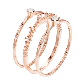 LC Lauren Conrad Rose Gold Tone Stack Ring Set