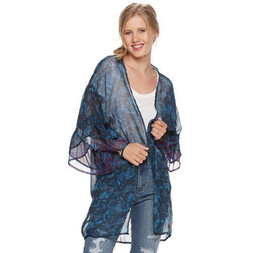 Women's SO® Gypsy Floral Double Ruffle Sleeve Kimono