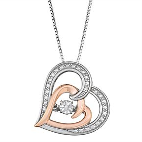Two Tone Sterling Silver Diamond Accent Double Heart Necklace