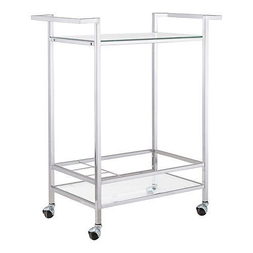 Forma Chrome Rolling Wine Cart