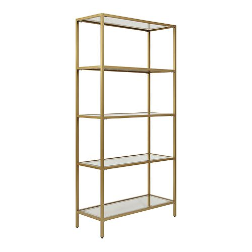 Marcello Glass Gold Shelves Bookcase