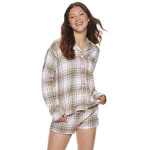 Juniors' SO Long Sleeve Flannel Notch Collar Set