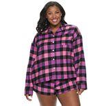 Juniors' SO® Long Sleeve Flannel Notch Collar Set