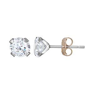 Taylor Grace 10k White Gold 5 mm Cubic Zirconia Stud Earrings