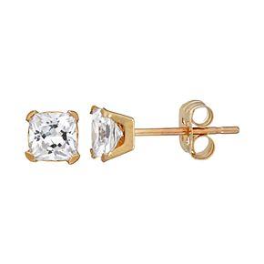 Taylor Grace 10k Gold 4 mm Square Cubic Zirconia Stud Earrings