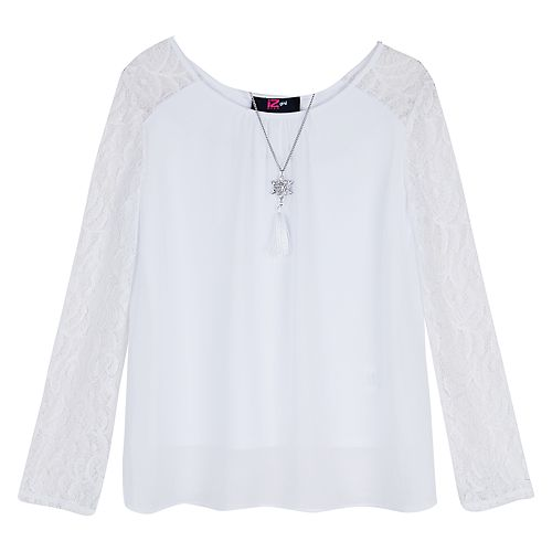 Girls 7-16 IZ Amy Byer Lace Accent Georgette Top