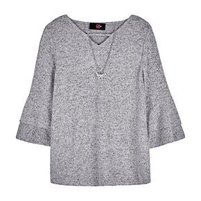 Girls 7-16 IZ Amy Byer Ruffle Sleeve Top & Necklace Set