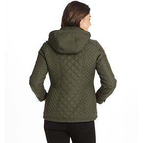 Women's Weathercast Quilted Hooded Midweight Shaped Jacket