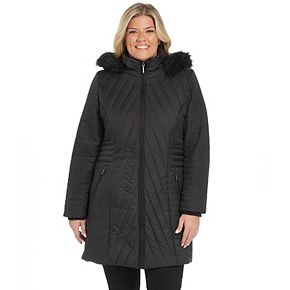 Plus Size Weathercast Quilted Faux-Fur Hood Puffer Jacket