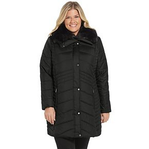 Plus Size Weathercast Faux-Fur Collar Puffer Jacket