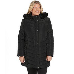 Plus Size Weathercast Faux-Fur Hood Quilted Walker Jacket