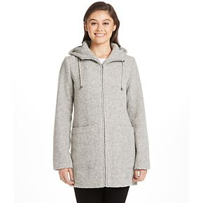 Women's Weathercast Hooded Midweight Zip Front Wool Blend Walker Jacket