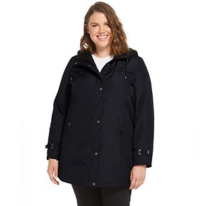 Plus Size Weathercast Hooded Bonded A-Line Jacket