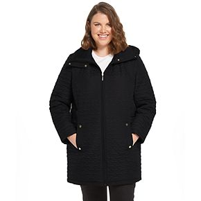 Plus Size Weathercast Hooded Midweight Quilted Walker Jacket