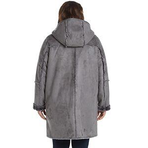 Women's Weathercast Hooded Heavyweight Faux Shearling Walker Jacket