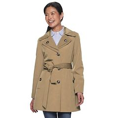 Ladies Coat Womens Jacket Double Breasted Military Trench BELT Long Sleeve Lined