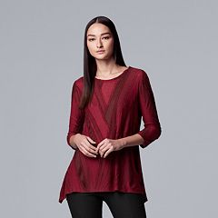 Women's Simply Vera Vera Wang Textured Asymmetrical Top