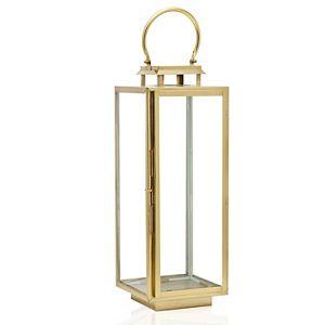 Scott Living Luxe Brass Metal and Glass Rectangle Lantern