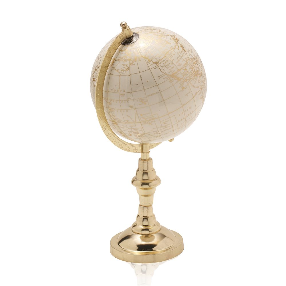 Scott Living Luxe White and Gold Globe