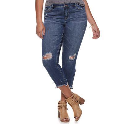 Juniors' Plus Size Almost Famous Mid-Rise Destructed Zip Hem Ankle Skinny Jeans