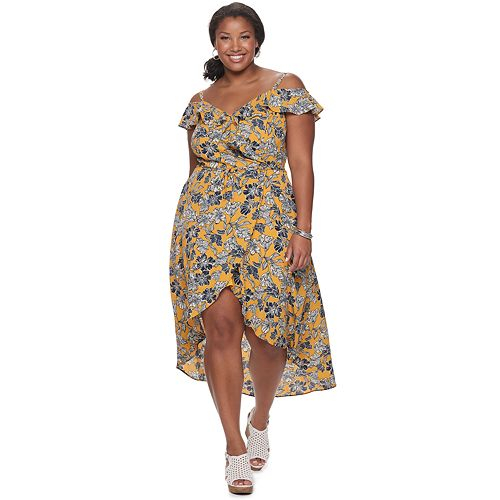 Juniors' IZ Byer Off-the-Shoulder Wrap High-Low Surplice Bodice Dress