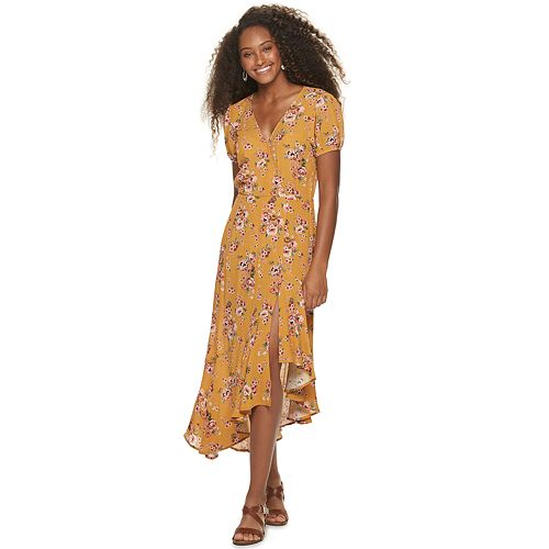 Juniors' Rewind Floral Asymmetrical Hem Midi Dress