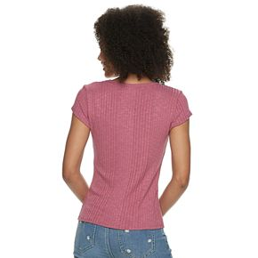 Juniors' Pink Republic Short Sleeve Squared Neck Knit Top