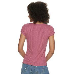 Juniors' Pink Republic Short Sleeve Squared Neck Tee