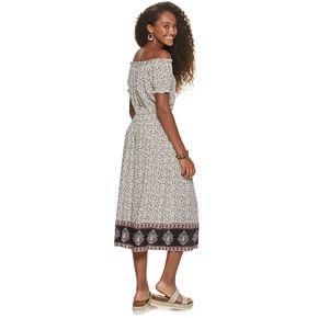 Juniors' Rewind Off-The-Shoulder Midi Dress