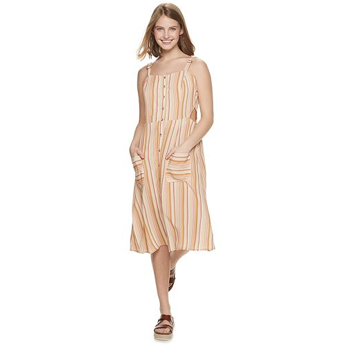 Juniors' Rewind Button-Front Midi Dress