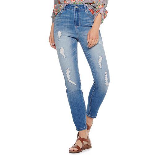 Juniors' Indigo Rein Curvy Recycled Skinny Jeans