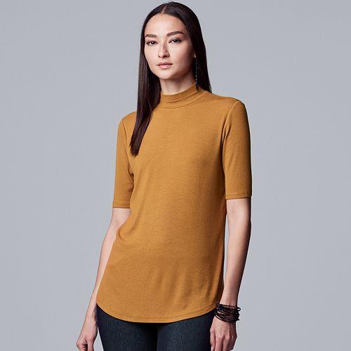 Women's Simply Vera Vera Wang Easy Mockneck Texture Tee