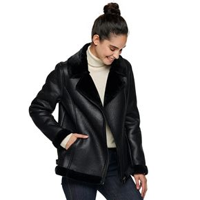 Women's Sebby Collection Faux-Shearling Moto Jacket