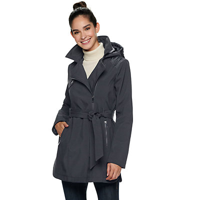 Women's Sebby Collection Hooded Soft Shell Trench Coat